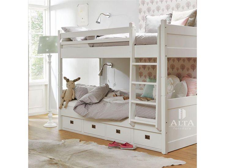 ALTA FURNITURE Etagenbett Mit Gerader Leiter 4 Schubladen Snow White  90x200cm ALTA Furniture Jetzt Bestellen Unter