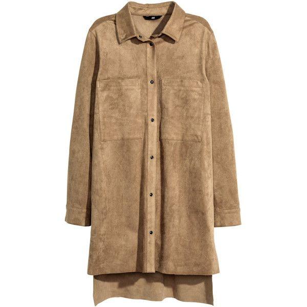 H&M Short shirt dress (240 BRL) ❤ liked on Polyvore featuring dresses, vestidos, beige, slit shirt dress, short shirt dress, shirt-dress, long shirt dress and h&m dresses