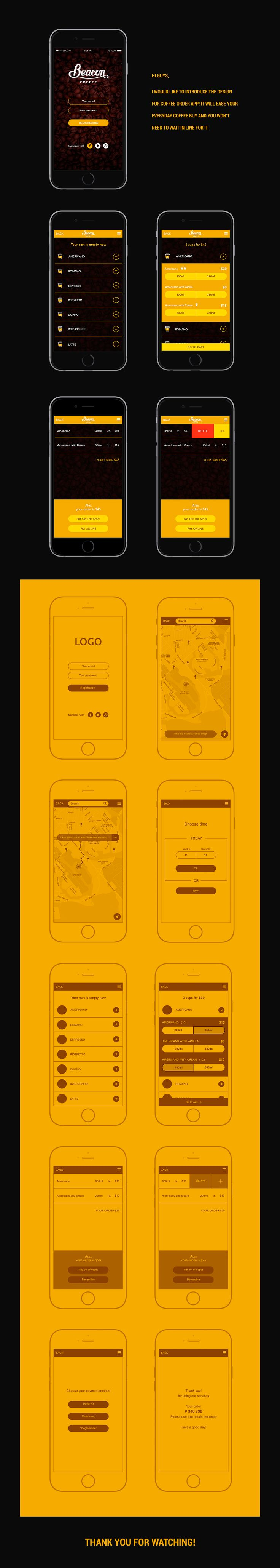 Hi guys, I would like to introduce the design for coffee order app! It will ease your everyday coffee buy and you won't need to wait in line for it.