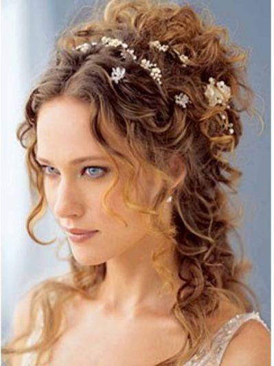 long curly wedding hair, wedding