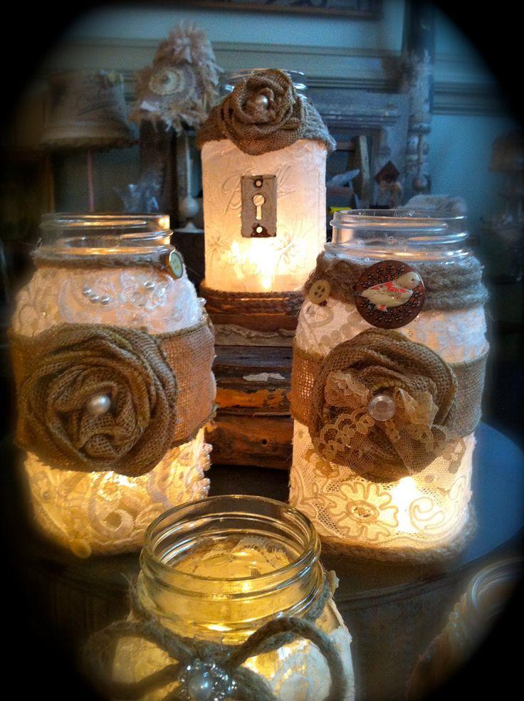 Decadent burlap mason jars