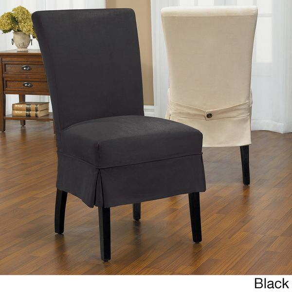 Luxury Suede Mid Pleat Relaxed Fit Dining Chair Slipcover With Buttons CoversDining SlipcoversDining ChairsDining Room