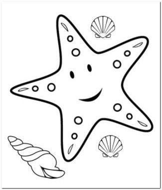 Kleurplaten Zeesterren.Starfish Coloring Page School Zeesterren Dibujo Del Mar