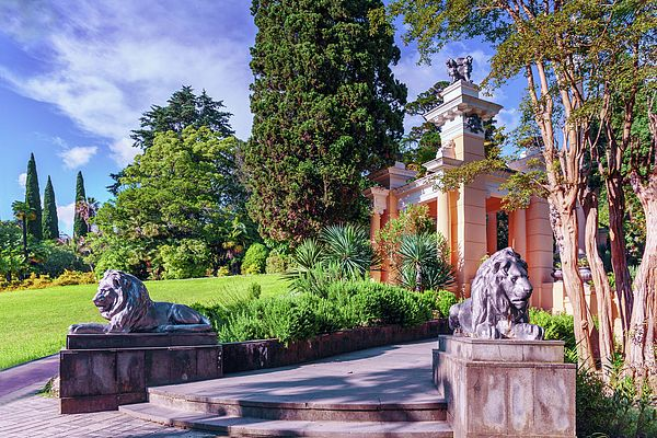 stone lions guard the entrance to the gazebo in the arboretum of the city of Sochi - which is the green treasure of Russian subtropics, numbering more than 1,800 rare and exotic plants that were imported to the Park from different parts of the world# George Westermak#Landscape#FineArtPfotography#Travel#FineArtPrints# Russia