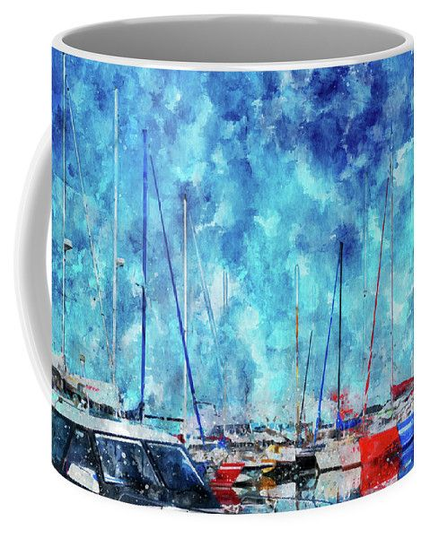 Mariia Kalinichenko Coffee Mug featuring the mixed media July Lines In Watercolors by Mariia Kalinichenko #MariiaKalinichenko