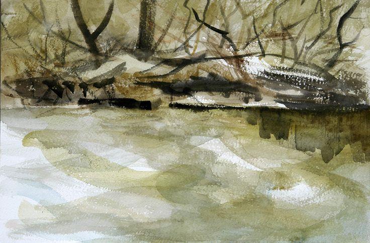 Flowing Water, watercolor on paper