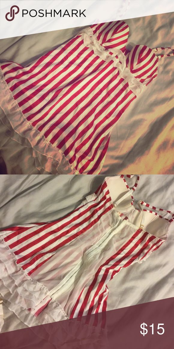 Brand new sexy Christmas lingerie Striped outfit. Not much padding Victoria's Secret Intimates & Sleepwear