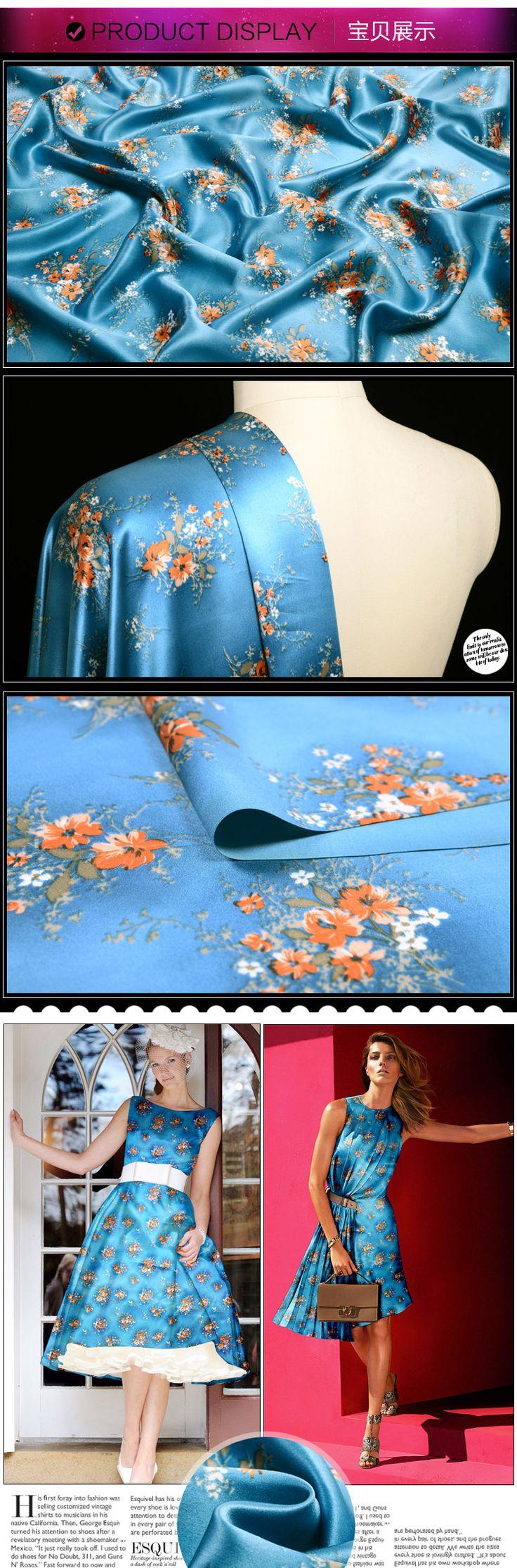 Aliexpress.com: Купить Heavy шелковый креп ткани моды атласной ткани цветочный принт голубой 25mumi от надежных печатных алюминия бутылки с водой поставщиков на мире ткань в.
