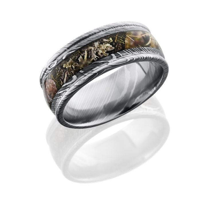 realtree wedding invitations%0A Rounded Edge Damascus Steel Camo Ring