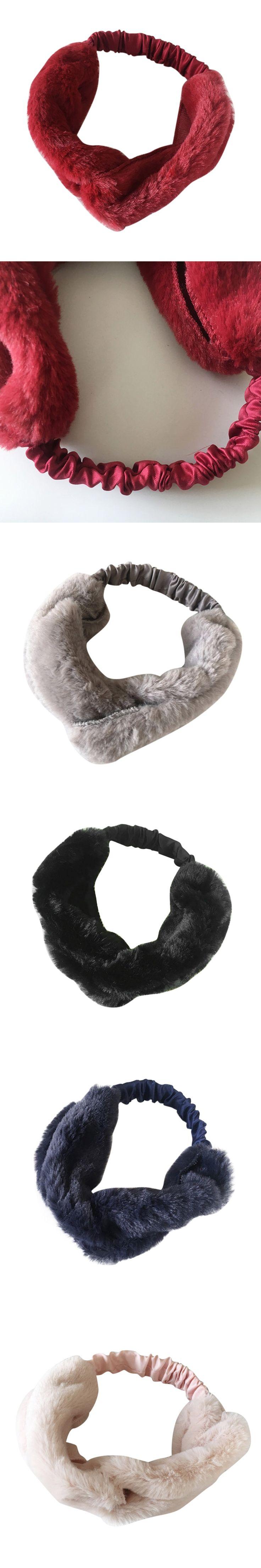 1pc Women Faux Fur Cross Twist Headband Hair Band Turban Soft Elastic Headband Bandage ja30ja9