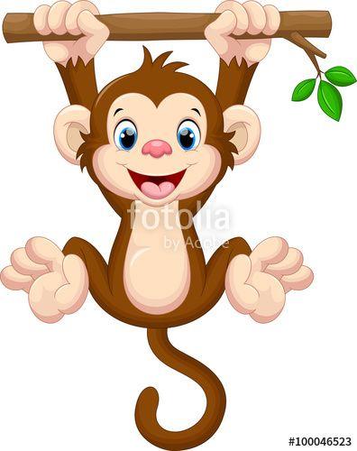 """Baixe o vetor royalty free """"Cute baby monkey hanging on tree"""" desenhado por irwanjos com o menor preço no Fotolia.com. Navegue no nosso banco de imagens online barato e encontre vetores stock perfeitos para seus projetos de marketing!"""