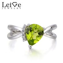 Leige Jewelry Natural Peridot Ring Anniversary Ring August Birthstone Pear Cut Green Gemstone 925 Sterling Silver Ring for Women //Price: $US $116.00 & FREE Shipping //     #Birthstone Jewelry