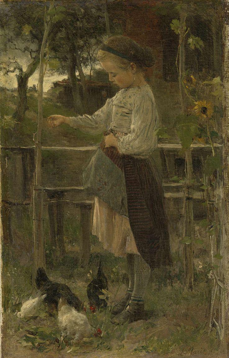 Jacob Maris | Feeding Chickens, Jacob Maris, 1866 | Voorstelling getiteld 'Kippetjes voeren'. Een meisje is bezig in een tuintje de kippen te voeren, zij heeft de voorkant van haar rok omhoog gevouwen. Links en rechts zonnebloemen tegen een hek.