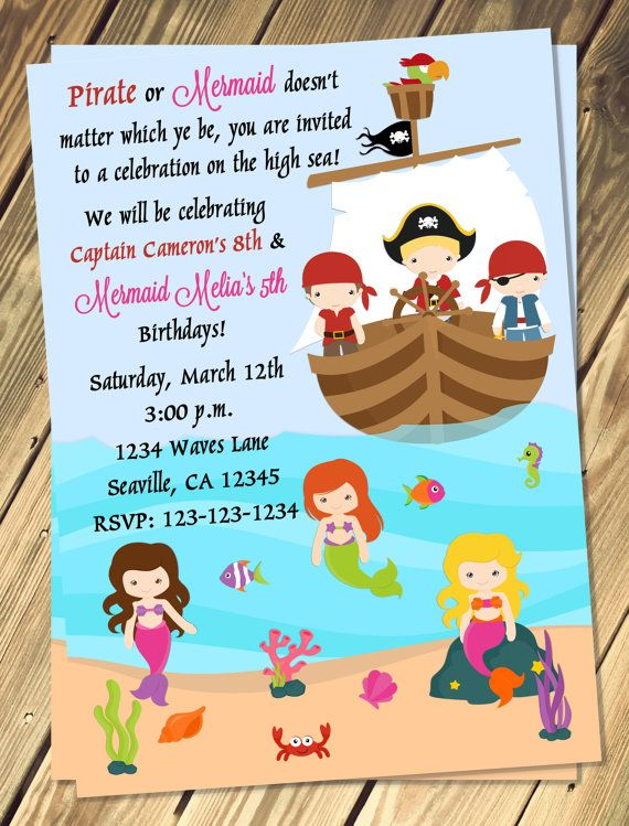 Etsy listing at https://www.etsy.com/listing/179863014/pirate-mermaid-birthday-invitation-print