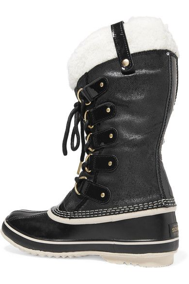 Sorel - Joan Of Arctic Waterproof Shearling-trimmed Leather Boots - Black - US5.5