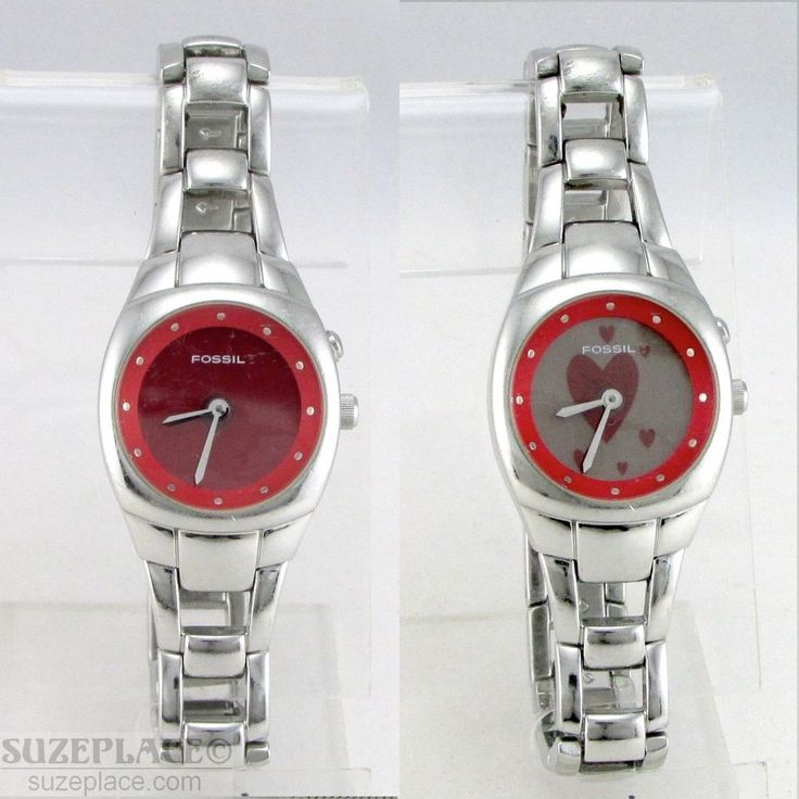 FOSSIL BIG TIC RED HEART CHANGING DIAL LADIES WATCH 1 J MVMNT EZ9572 NEW BATTERY #Fossil #Love #SuzePlace www.SuzePlace.com