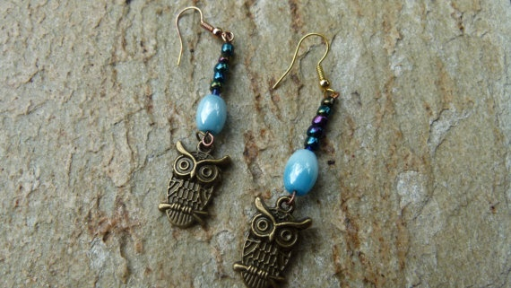brass owl and blue bead drop earrings blue and by Retrobeadbling, $10.00