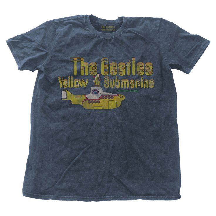 The Beatles T Shirt Yellow Submarine Band Logo Mens Blue Snow Wash - Paradiso Clothing