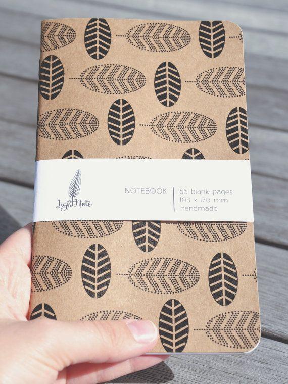 POCKET NOTEBOOK - Black Leaves Kraft Cover Blank Pages Notebook  LightNote
