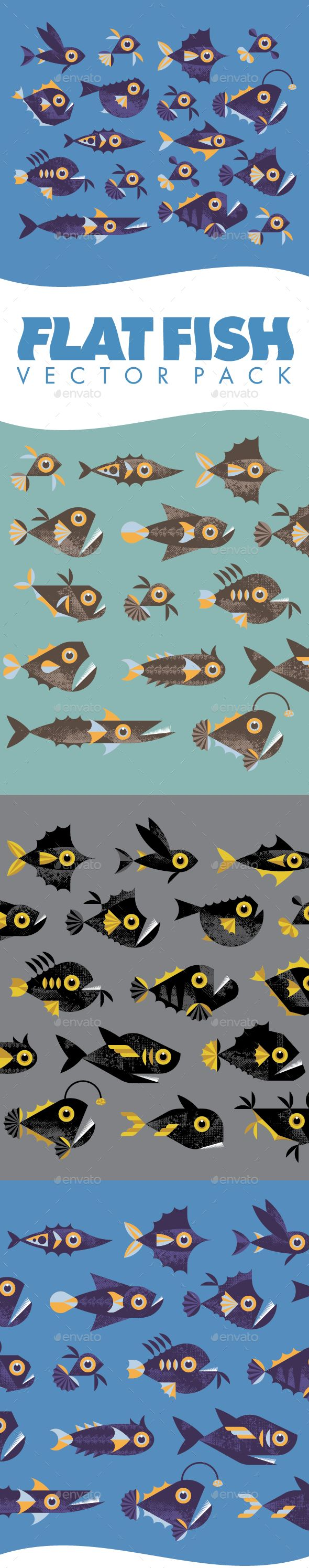 Flat Fish - Vector Pack