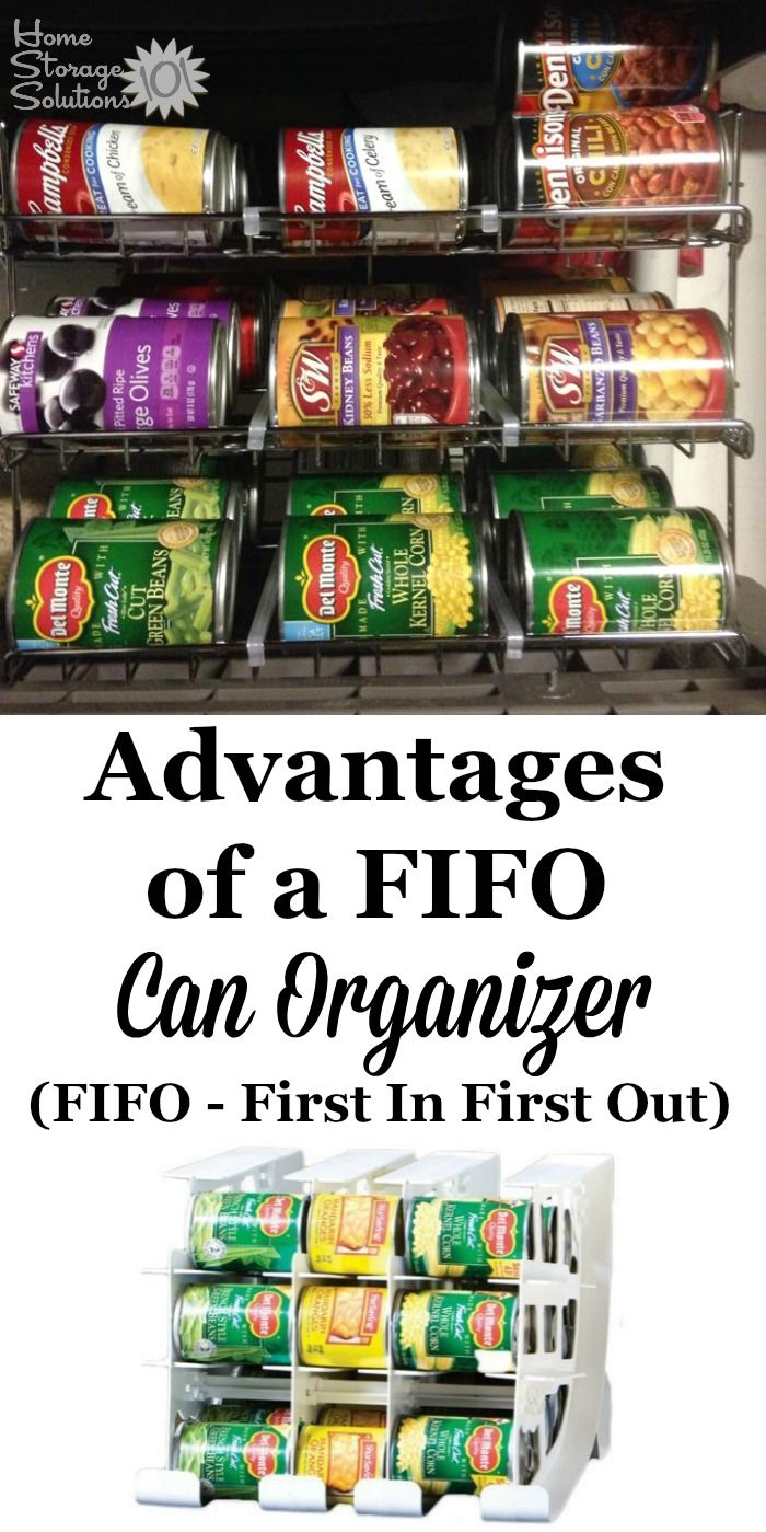 A simple way to organize your pantry, if you've got a lot of canned goods, is to use a can organizer. It's best to get one that is FIFO (which stands for First In, First Out), so you're always using the oldest cans first and don't have to worry about expired canned goods. {Find out where to get one!}