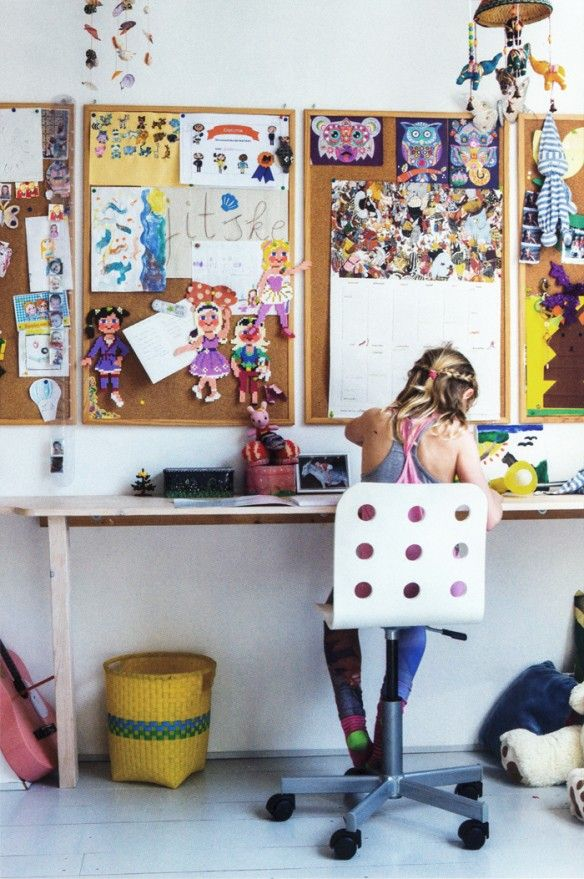 Un bureau d'enfant bohème