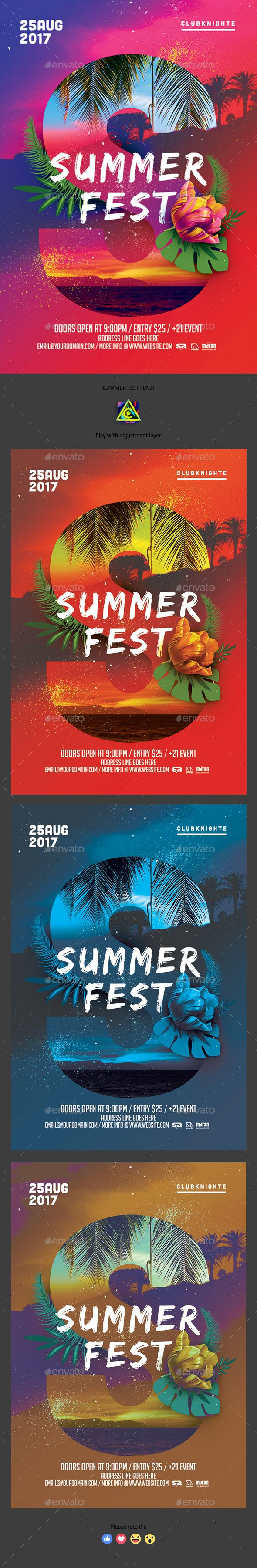 Summer Fest Flyer — Photoshop PSD #graphic #4x6 • Download ➝ https://graphicriver.net/item/summer-fest-flyer/20369021?ref=pxcr