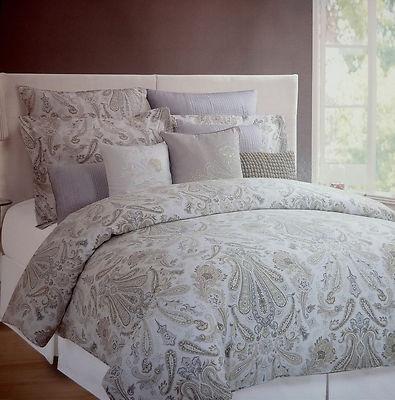 Hillcrest Paisley Floral King Duvet Cover Set Shams Taupe