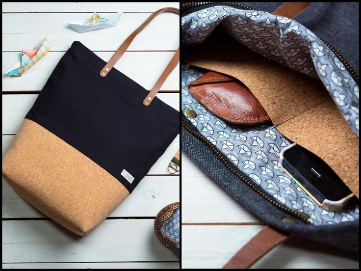 ♦︎ CANVAS MEETS CORK ♦︎ bag ♦︎ black ♦︎ von ulsto auf DaWanda.com