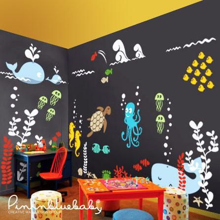Underwater Aqua World Playroom. Kids Wall DecalsRemovable ...