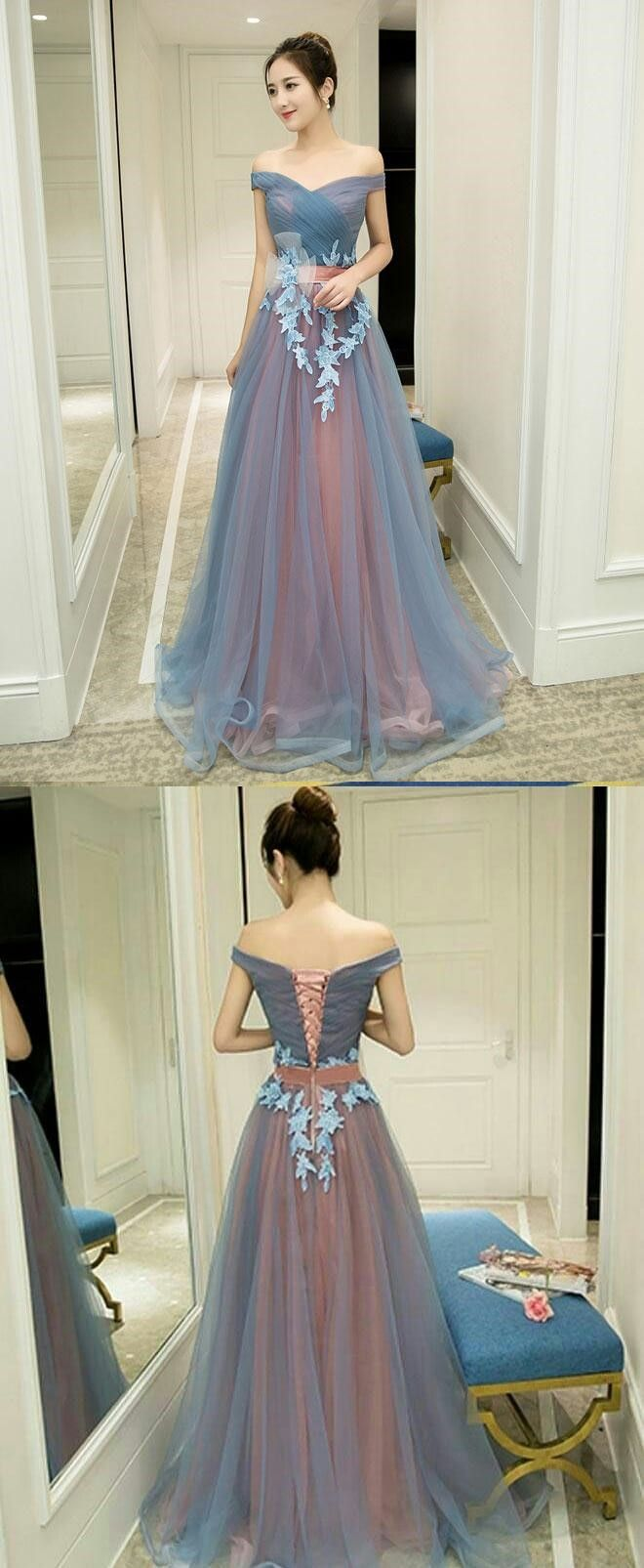 Gray blue prom dress tulle prom dress off shoulder prom dress