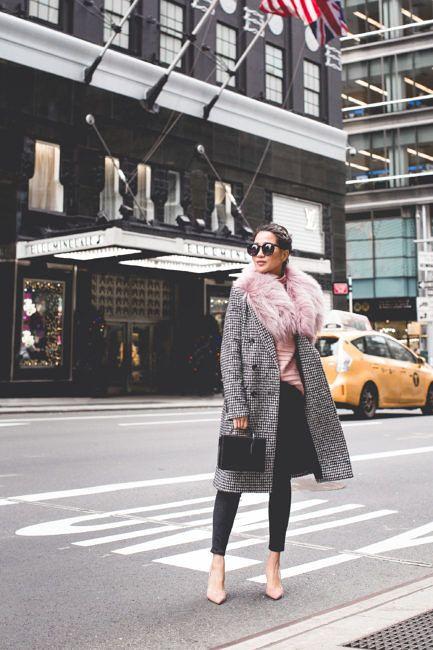 Holiday Noir :: Houndstooth pattern & Pink sweater | Wendy's Lookbook | Bloglovin'