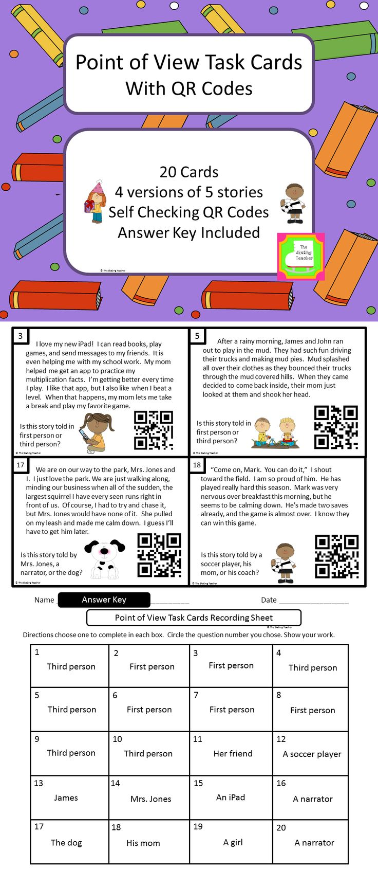 These task cards help students practice identifying the point of view in a fictional story.  Students can check their own work using a smart device with a free QR reader app. $