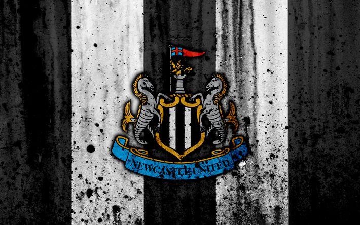 Download wallpapers FC Newcastle United, 4k, Premier League, logo, England, soccer, football club, grunge, Newcastle United, art, stone texture, Newcastle United FC