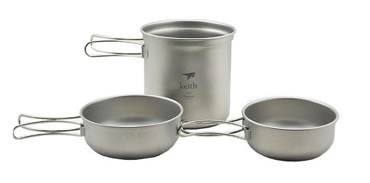 Три Picec установить только 228.5 г титан пот кастрюли кемпинг посуда складной чаша Ti6052