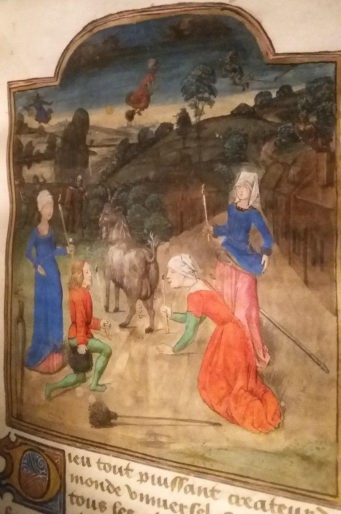 Heksensabbat: atelier van de Meester van Margareta van York. In: Invectives contre la secte de vauderie, Johannes Tinctoris, 1470-1480. In de Middeleeuwen is er een grote angst voor de duivel ontstaan. Men denkt dat sommige mensen een verbond met de duivel sluiten. Ze sluiten zich aan bij een sekte die verzet pleegt tegen Kerk en maatschappij. In traktaten beschrijven geleerden de kwaadaardige betoveringen (maleficia) en de nachtelijke bijeenkomsten (sabbats) van de heksen.