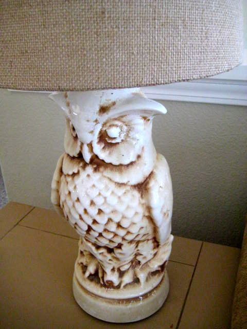 Vintage Retro Owl Lamp Large Ceramic Off White Unique Light At Home Pinterest And