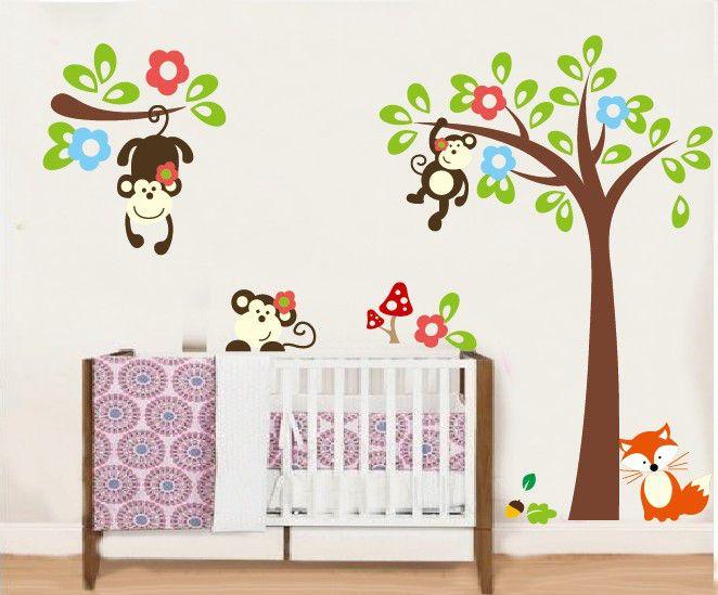Maak je kinderkamer compleet met deze gezellige slingerapen muursticker. Denk om de sluwe vos! Hoge kwaliteit muursticker & snelle levering!