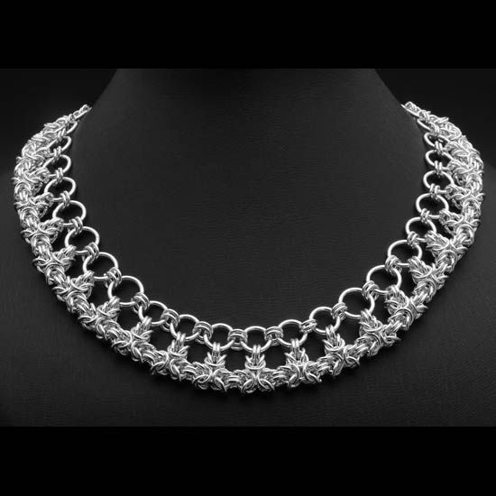 "Standout and be different! A lovely handmade ChainMaille ""Crown Weave"" Sterling Necklace. Adjustable for 16"" and 18"" length. Extraordinary Keepsake."