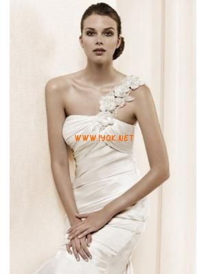 Floral One Shoulder Pleating Modern Modest Wedding Dresses 2...