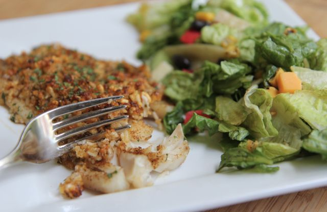 baked parmesan tilapia recipe - delicious recipe!  I did not use season salt since old bay has salt in and parmesan is also salty.. it was PERFECT. yum