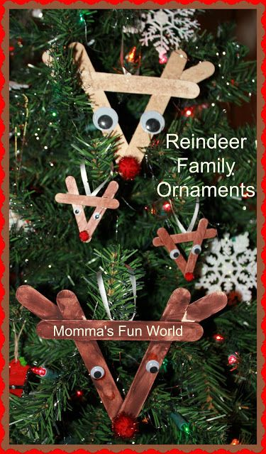 Momma's Fun World: Reindeer family ornaments with popsicle sticks