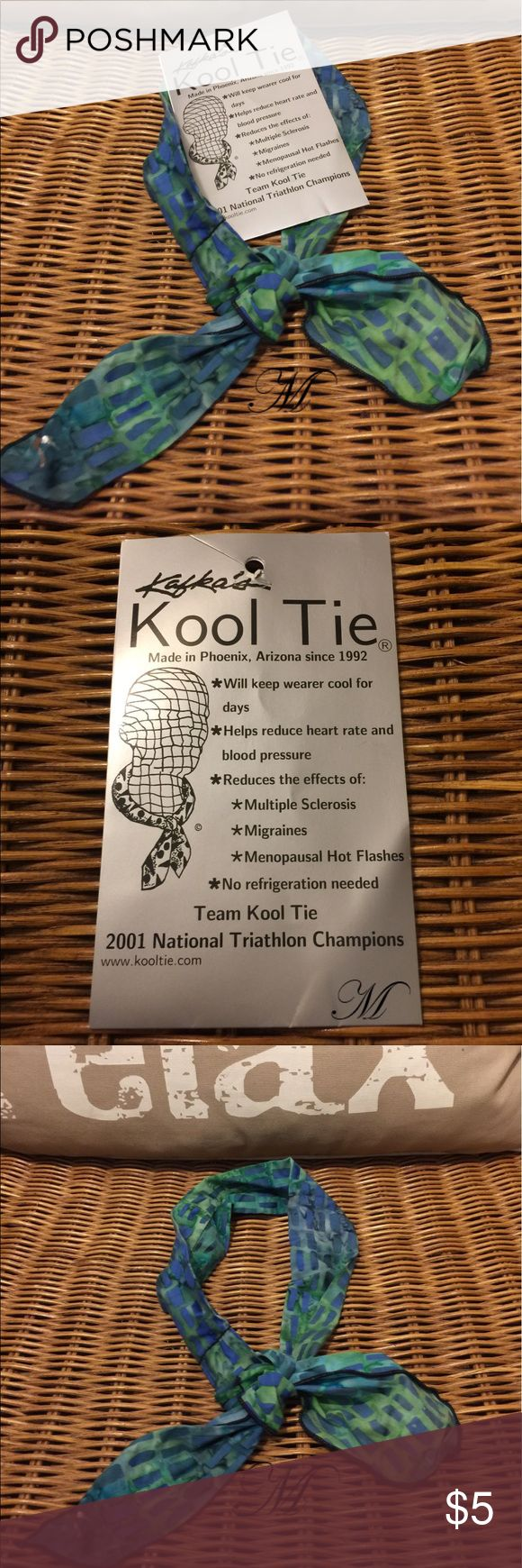 Beat the Heat with Kafka's Kool Tie Kool tie is a personal evaporative cooling system for the wearer which last for days. Helps reduce blood pressure and heart rate. Reduces The effects of multiple sclerosis, menopausal hit flashes and migraines. No refrigeration needed. Only used once. Kafka Accessories Scarves & Wraps