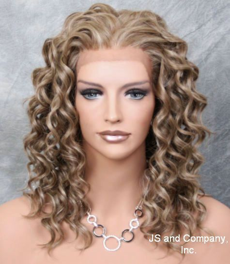 HEAT SAFE Wavy Curly Lace Front Wig Ash Brown Blonde Mix Ay 18-22