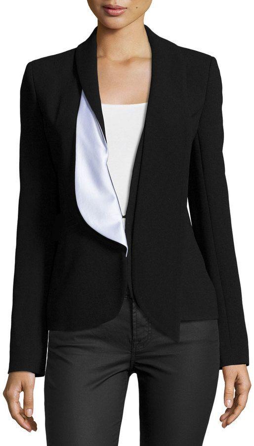 Prabal Gurung Two-Tone Blazer W/Asymmetric Lapel, Black