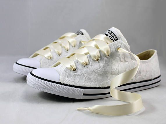 Bridal Converses --Lace Converse -- Wedding Tennis shoes - Wedding Converse For the girl who wears her Converses to every occasion.... why shouldnt you wear them to your wedding? Skip down the aisle in comfort in these beautiful white lace Converses! Pictured in white with white