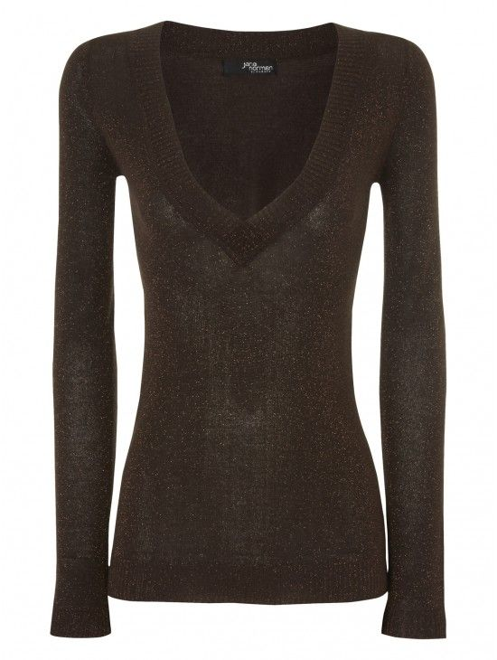Vee Neck Metallic Jumper | Jane Norman