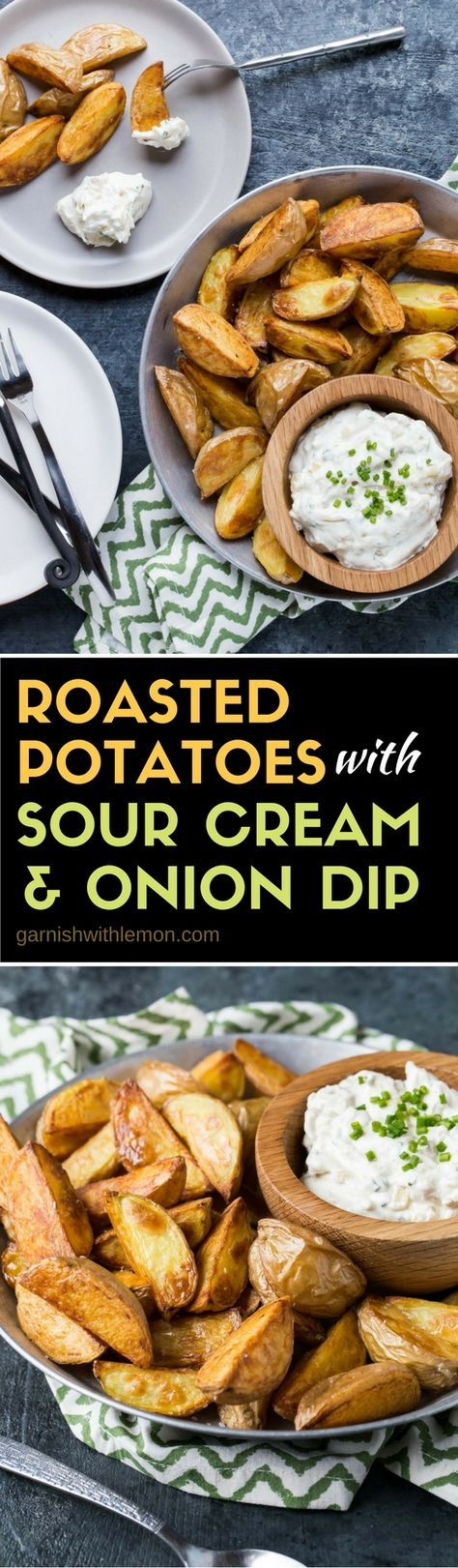 Potatoes are not just for dinner! These Roasted Potatoes with Sour Cream and Onion Dip make a simple, crowd-pleasing appetizer, too.