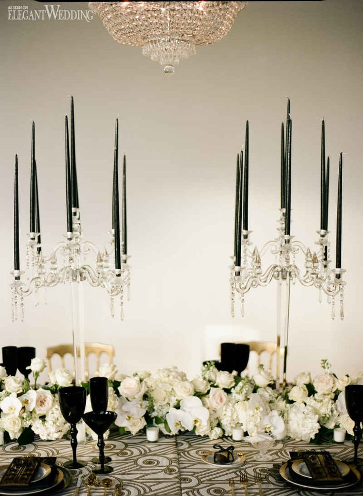 Black and Gold Table Decor, Vintage Art Deco Wedding Theme www.elegantwedding.ca
