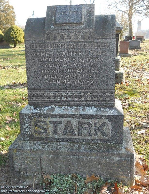 ON: Gore / Clanbrassil / Dufferin Cemetery (James Walter STARK), CanadaGenWeb's…